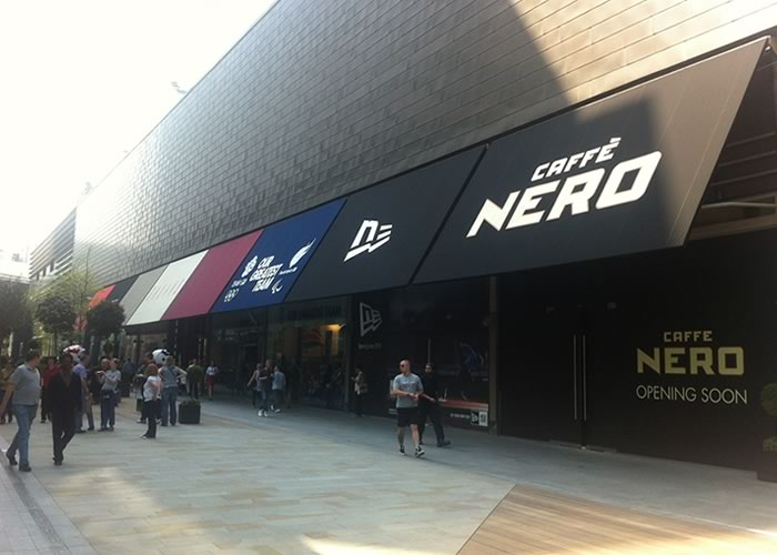 Westfield shopping plaza Rib Panel® shop canopy for cafe nero