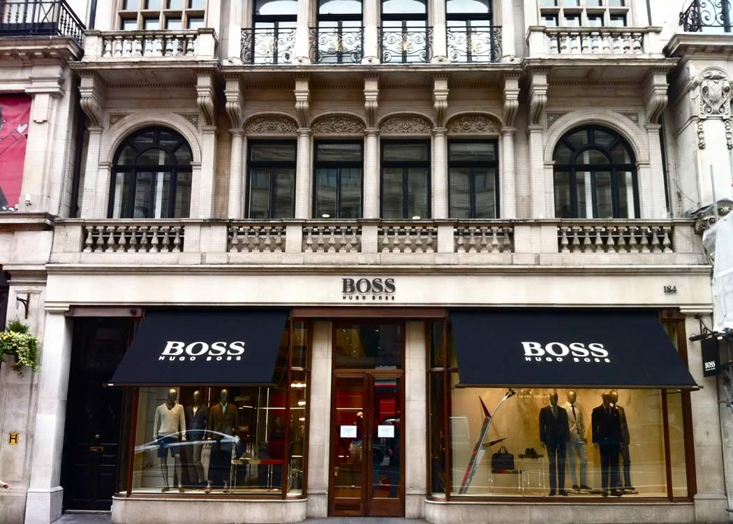 Greenwich style awnings for Hugo Boss flagship store in London