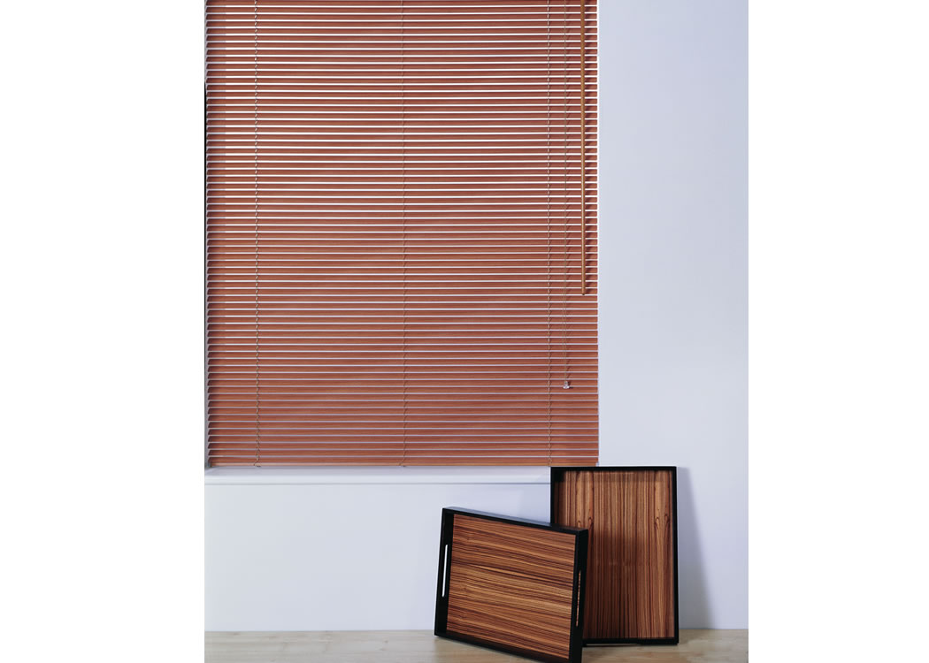 Office venetian blinds can have natural wood finishes