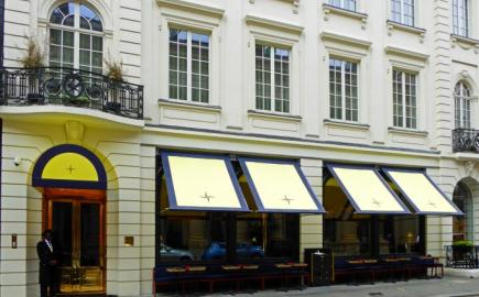 Victorian Awnings and Entrance Canopy at Isabel restaurant, with bespoke branding